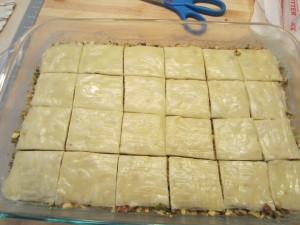 You cut the baklava before baking